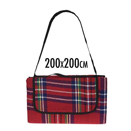 XL Picknickdecke - 200 x 200 cm - rotes Tartan Muster, kariert - Acryl, wasserdicht - mit Tragegriff