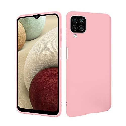 HSP Rosa Hülle kompatibel mit Samsung Galaxy A12 / M12   Premium TPU Silikon Hülle   Kratzfest Stoßfest   Matte Oberfläche   Passexakte, weiche, Ultra dünne Schutzhülle
