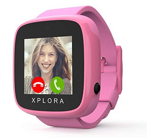 XPLORA GO - Telefon Uhr für Kinder (SIM-frei) - Anrufe, Nachrichten, Schulmodus, SOS-Funktion, GPS-Standort, Kamera und Schrittzähler - 2 Jahr Garantie (ROSA DUO)