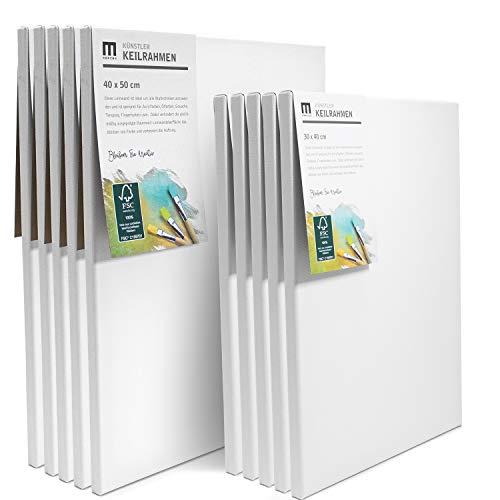 10er Set Künstler Leinwand zum Bemalen (5 STK 40x50cm, 5 STK 30x40cm) Canvas Leinwand aus 100% Baumwolle, umlaufend aufgespannt auf FSC® Holz-Keilrahmen, 280g/m², 2-Fach weiß grundiert