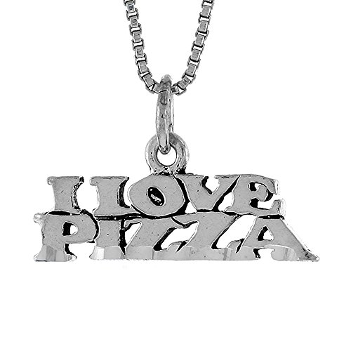Sterling Silver I Love Pizza Word Necklace on an 18 inch Box Chain