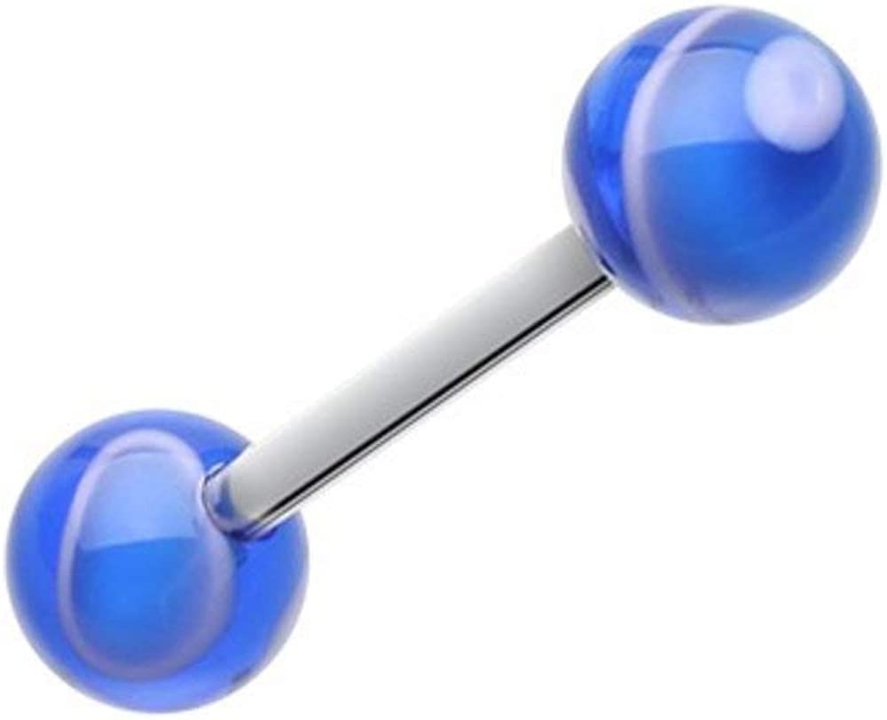 Covet Jewelry Marble Stripe Acrylic Top Barbell Tongue Ring