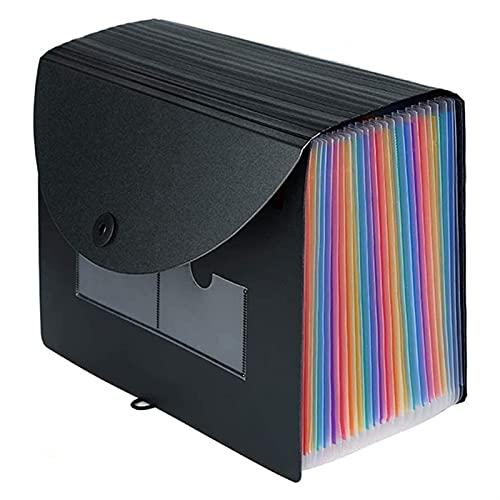 Ampliación de la carpeta de archivos 24 Pockets Portable Rainbow A4 Organizador de archivos Autorizante de acuerdo con acordeón Caja de presentación (Color : Black)