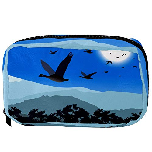 TIZORAX Cosmetic Bags Birds Flying Ice Mountain Handy Toiletry Travel Bag Organizer Makeup Pouch for Women Girls