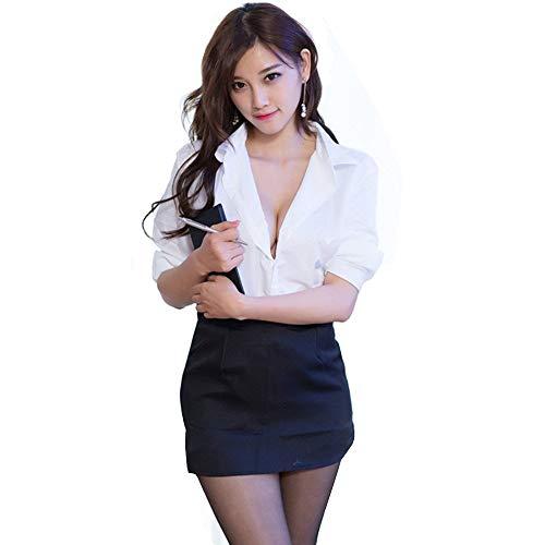 Happyjiu Women Sexy Secretary Uniform Cosplay Costume Blouse Set (M)