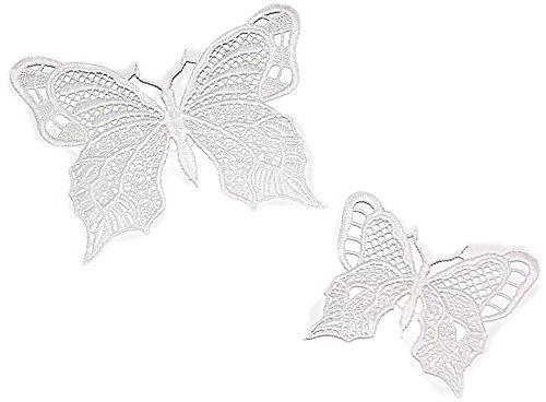 Fensterbilder 2 Stück Set Plauener Spitze ® Schmetterlinge Einfarbig mit Saugnapf Spitzenbilder FRÜHLING/Sommer (Sekt Uni)