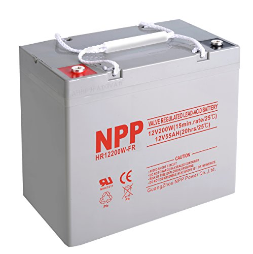 NPP HR12200W FR 12V 200W(15min.Rate)12Volt 55 Amp High Rate Rechargeable AGM Lead Acid UPS Battery