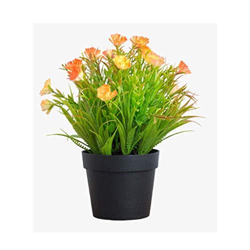 JIAJBG Artificial Plants Mini Plastic Plants with Square Vase for Office Desk, Home Faux Plastic Green Plants Fake Plant with Resin Pots,D,20X25Cm Faux Succulents/B / 20X25Cm Bonsai