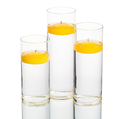 Eastland Set of 3 Cylinder Vases and 3 Yellow Richland Floating Candles 3'