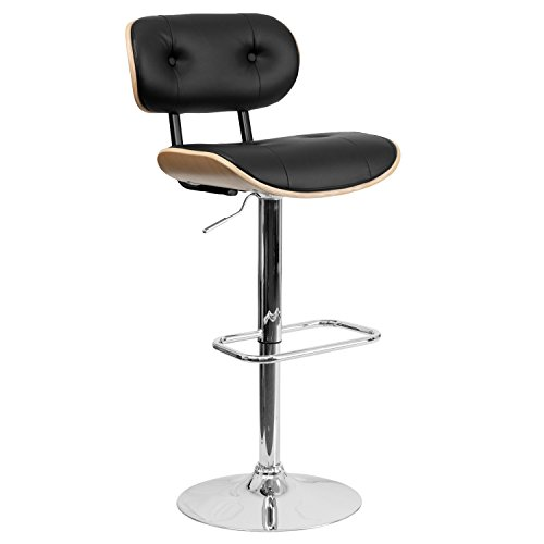 Flash Furniture Beech Bentwood Adjustable Height Barstool with Button Tufted Black Vinyl Seat