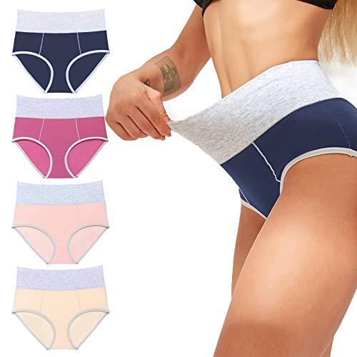 neppein Damen Unterhosen Baumwolle Unterwäsche Hohe Taille Panties 4der Pack Atmungsaktiv Slips Hipster
