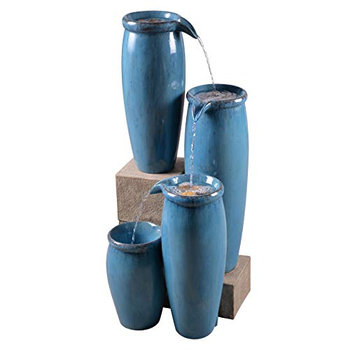 Kenroy Home 51029BLU Vessel Fountains, Textured Blue Finish