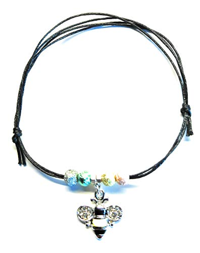 Black cotton cord anklet Tibetan silver charms animals singer new york assorted (enamel sparkly bee anklet)