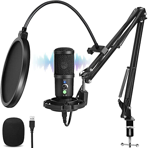 Nimaso USB Mikrofon,192kHZ/24bit Mikrofon pc,Podcast Mikrofonset mit Mikrofonständer,Shock Mount,Windschutz,Popfilter für Rundfunk, Aufnahme,YouTube,Podcast,Gaming