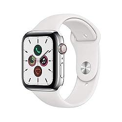 Apple Watch Series 5(GPS + Cellularモデル)- 44mmステンレススチールケースとホワイトスポーツバンド - S/M & M/Lの商品画像