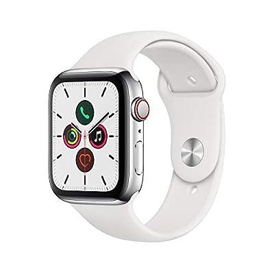 Apple Watch Series 5(GPS + Cellularモデル)- 44mmステンレススチールケースとホワイトスポーツバンド - S/M & M/L