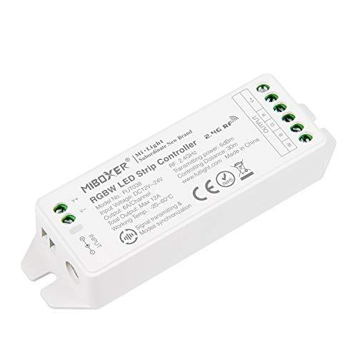 LIGHTEU, Milight Miboxer 2.4GHz RGBW RGB + controller LED a striscia bianca Uscita DC12V / 24V Max. 12A, FUT038