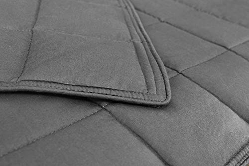 AckBrands 48' x 78' - 15 Lb Weighted Blanket - Slate Gray - Premium Cotton with Glass Beads - Double Stitched Edges - Veteran Owned