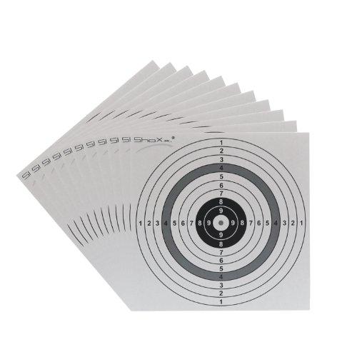 100 ShoXx. ® shoot-club Luftgewehr / Softair Zielscheiben 14 x 14 cm