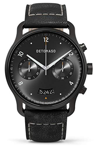 DETOMASO SORPASSO Chronograph Limited Edition Black Herren-Armbanduhr Analog Quarz Italienisches Lederarmband Schwarz