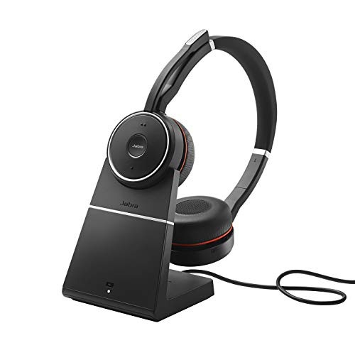 Jabra Evolve 75 UC - Auriculares Inalámbricos Estéreo, Optimizados para Comunicaciones Unificadas, Batería de Larga Duración y Soporte de Carga, Adaptador Bluetooth USB, Negro