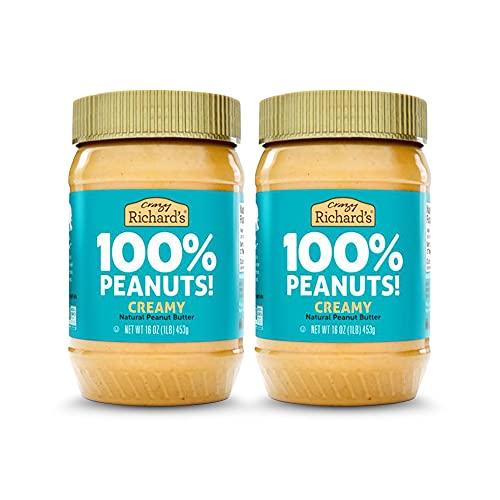 Crazy Richard's All Natural Creamy Peanut Butter 100% Peanut Non GMO Salt, Sugar, and Palm Oil Free (2 jars)
