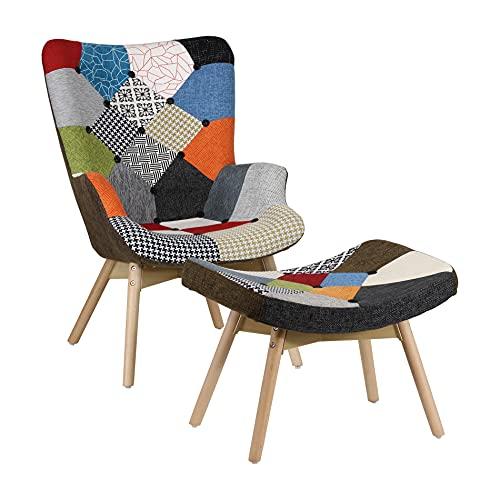 Totò Piccinni Poltrona e Sgabello Design Patchwork Multicolore Gambe in Legno di Faggio (Patchwork)