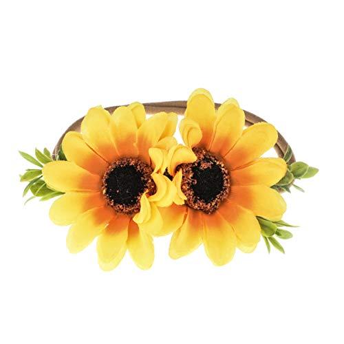 DreamLily NewBorn Baby Flower Crown Flower Baby Headband Floral Head Piece for Toddler BB13 (Sunflower)
