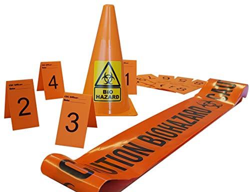 Caution Biohazard Barrier Tape (10mx1),Warning Biohazard Cone (x1),Beweismarkierung,Foto Beweis Rahmen (1 bis 10), (7cm x 4cm Karten).