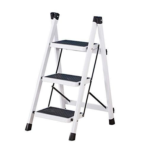 GAXQFEI Escalera plegable de 2/3 peldaños con escalera de mano, pedales anchos y resistentes antideslizantes, principalmente para el taburete de escalera de hogar, jardín y oficina,Blanco
