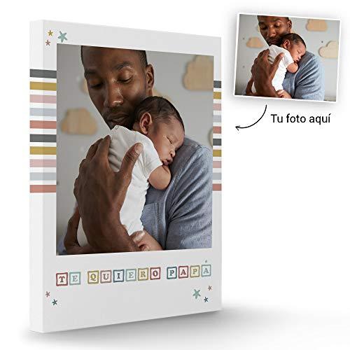 Fotoprix Lienzo Personalizado con Foto para Papá | Regalo Original día del padre | Varios diseños y tamaños (Padres 2, 40 x 50 cms)