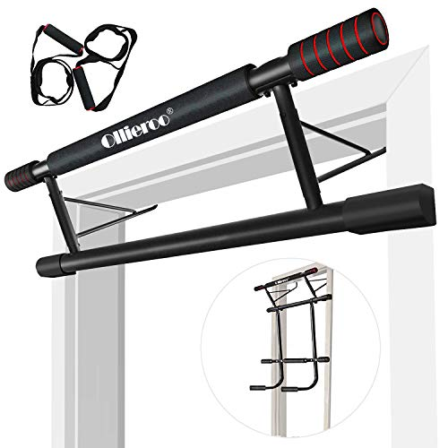 Ollieroo Doorway Chin Up Over Door Pull Up Bar Pull Up Bars Total Upper Body Workout Bar Pull Up Bar Strength Training Bars Multi-Grip Trainer Workout for Home Gym (4 in 1)