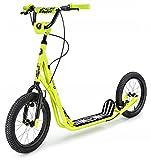 HyperMotion Kinderroller Scooter für Erwachsene und Jugendliche Tretroller Cityroller mit großen Rädern, Kinder Tret Roller Kickboard Runkie mit aufpumpbaren 16' (40 cm), Kickscooter, Gelb