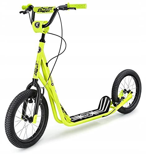"""HyperMotion Kinderroller Scooter für Erwachsene und Jugendliche Tretroller Cityroller mit großen Rädern, Kinder Tret Roller Kickboard Runkie mit aufpumpbaren 16\"""" (40 cm), Kickscooter, Gelb"""