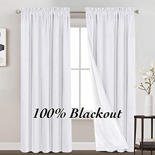 100% Blackout Curtains Primitive Linen Textured Curtain Drapes for Bedroom Full Light Blocking Window Curtains Draperies for Living Burlap Fabric Soft with White Liner (52 x 84 Inch, White)