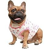 iChoue Cartoon Cute Dog T Shirts Clothes for Medium Size Boy Male Vest Tank Top French Bulldog Frenchie Pug English Boston Terrier Pitbull Strawberry - L