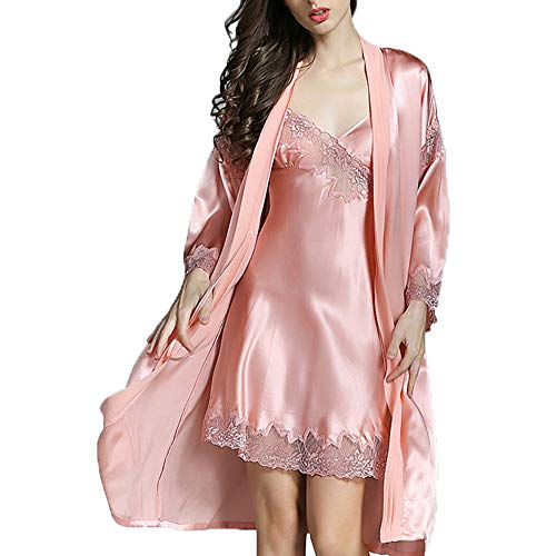 Pajama Suit, 2 Sets of Silk Pajamas Sexy Nightdress Gowns, Silk Spring Summer Autumn and Winter Women's Pajamas Home Clothes