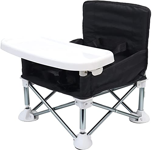 TOBAU ベビーチェア アウトドア 携帯 テーブルチェア 折りたたみ 6ヵ月から3歳まで ポータブル ベビーシート 赤ちゃん キッズ 幼児 椅子 屋内 屋外 収納バッグ付き (ブラック)