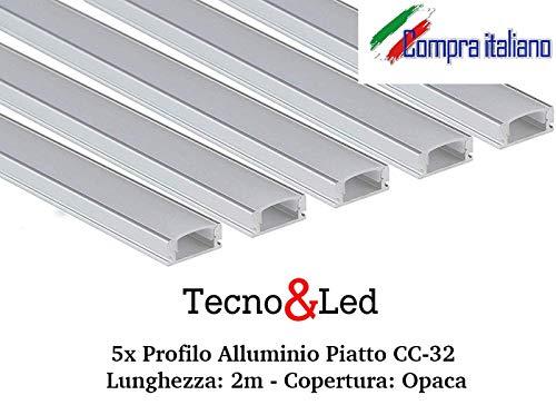 Tecno&Led - 5x Profilo Alluminio Piatto CC-32 per strip LED (Lunghezza: 2m - Copertura: Opaca)