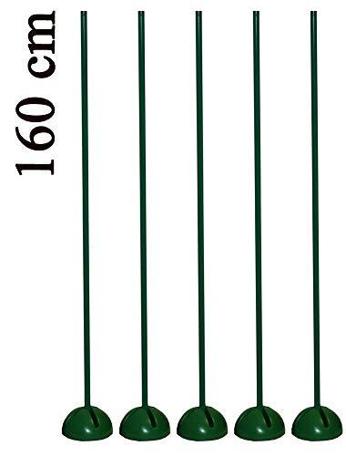 Set de 5x picas de slalom con base en X rellenable 160 cm (2 x 80 cm con conexión de enchufe), Color: verde