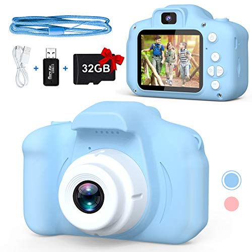 Balhvit Shockproof Selfie Kids Camera, Toddler Birthday Gifts Dual Camera for Kids Age 3-10, HD Digital Video with 32GB SD Card, Christmas Kids Toy for 3 4 5 6 7 8 Year Old Girls and Boys