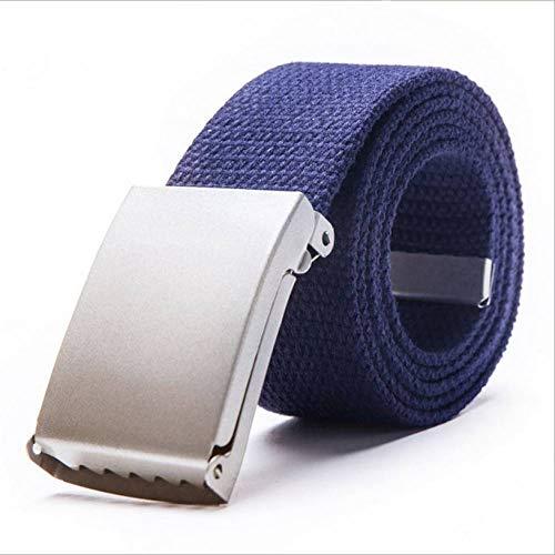 FDDSSYX Cinturón Lona,Azul Oscuro Hombres Mujeres Cinturón De Lona Moda Casual Cinturón De Hebilla De Doble Anillo Cinturones De Jeans De Rayas De Color para Mujeres Correa Masculina, 12