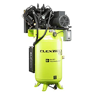 Flexzilla Pro Air Compressor with Silencer, Stationary, 10 HP, 80 Gallon, 208 Volt, 3-Phase, 2-Stage, Vertical - FXS10V080V3-208 by Legacy Manufacturing