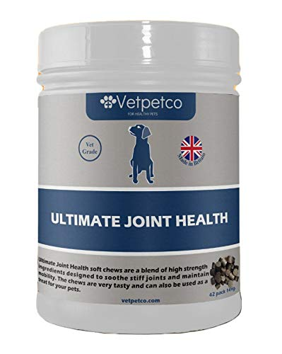 Vetpetco Ultimate Joint Health Chews for Dogs - A vetgrade dog hip and joint supplement, made with carefully selected ingredients specially designed to soothe stiff joints and promote mobility