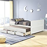 Full Size Daybed with Trundle and Drawers,Wood Trundle Daybed with 3 Storage Drawers,Bedroom Captains Bed for Kids Teens and Adults (White)