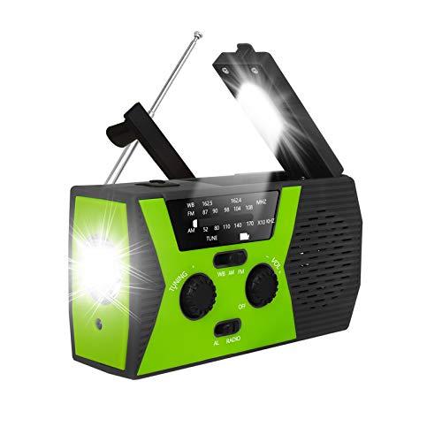 Radio de manivela solar de emergencia actualizada 2020, radio meteorológica RegeMoudal AM/FM/NOAA con linterna, lámpara de lectura, banco de energía de 2000 mAh, cargador de teléfono celular USB y alarma SOS