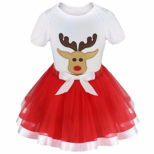 Freebily Infant Baby Toddler Girls Christmas Outfits Fancy Dress up Costumes Top T Shirt with Tutu Skirt Set White Red Reindeer 12-18 Months