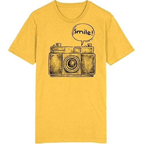YONGMAO T-Shirt mit Smiley-Motiv, Retro-Kamera, Vintage-Stil, Unisex Gr. M, gold