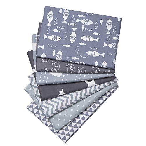 XiYee Tissus en Couture, 7 pièces Tissus en Coton pour Patchwork, Paquets de Tissus pour Patchwork et Patchwork de, Tissu au Metre Patchwork Multicolore (40 x 40 cm)