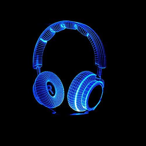 Grandorasd-Decoración de dormitorio para niños Mejor regalo 3D Auriculares de DJ coloridos Luz nocturna Estudio Música Monitor Auriculares Hi-Fi Música Auriculares LED Lámpara de escritorio